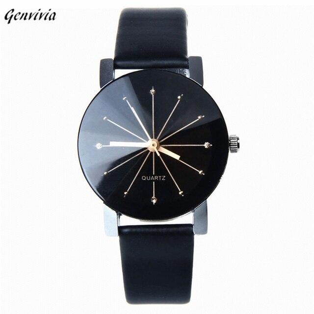 bc9d9c4b041 GENVIVIA Casal Quartz Mulheres Relógios 2019 Moda relógio de Pulso de Couro  Mostrador Preto Caso Rodada