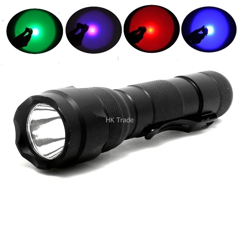 502B Blue/green/red/Purple UV troch 300 Lumen Torch Flashlight 18650 Bicycle Light For Camp Purple Light