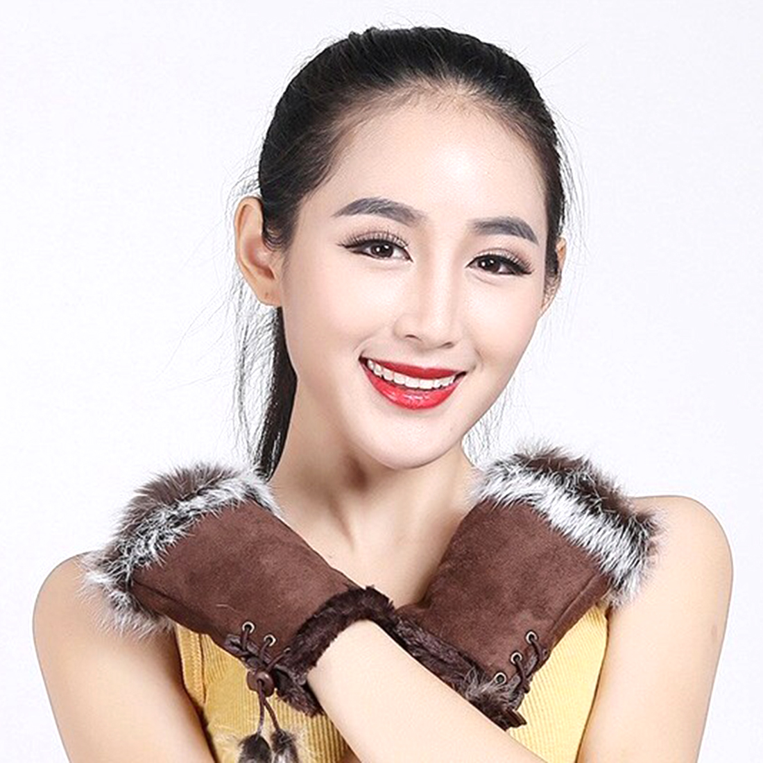 Womens beige leather gloves - Pink Black White Red Beige Leather Golves Women Ladies Fashion Stylish Winter Gloves 2016 Faux Fur Patchwork Top Bandage Gloves