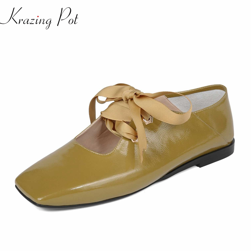 2018 Krazing pot fashion flats square toe superstar sweet hallow dance ballet women shoes pregnant big size casual shoes L0f1 vintage embroidery women flats chinese floral canvas embroidered shoes national old beijing cloth single dance soft flats