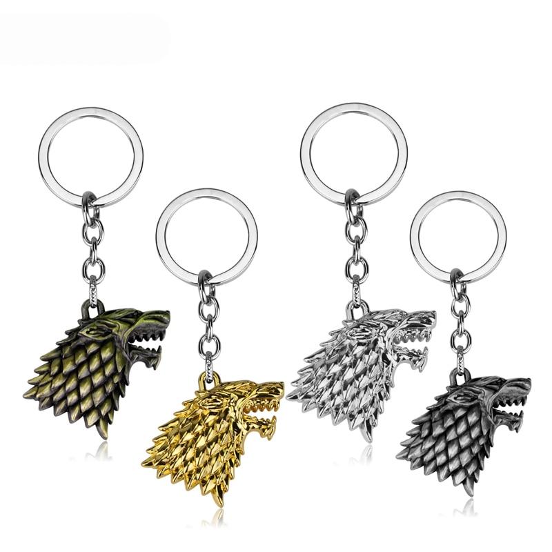 Game of Thrones House Stark Car Key Chain Keychain Keyring Pendant Metal Gold