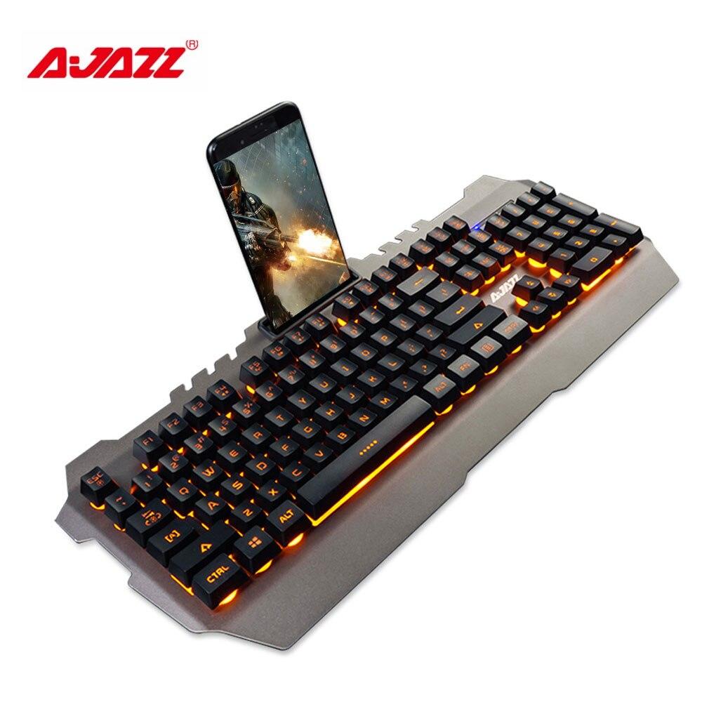 ajazz usb wired gaming mechanical feel keyboard yellow backlight waterproof alloy panel 104 keys. Black Bedroom Furniture Sets. Home Design Ideas