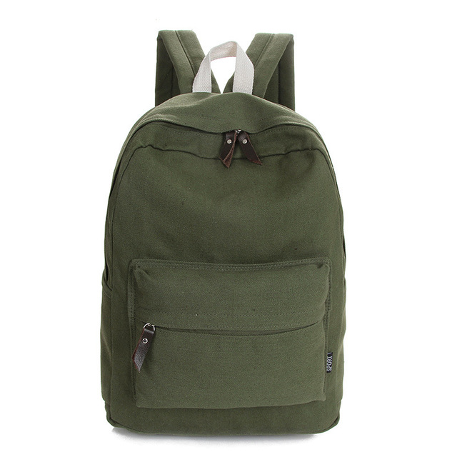 2018 New Canvas School Bags Simple Solid