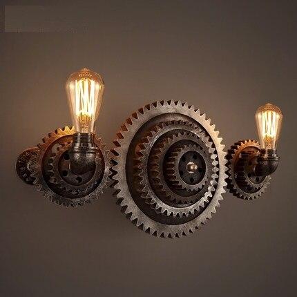 Applique Da Parete Luce Di Legno Di Legno Edison Gear Sconce Luci Casa Tubo Lampada D'epoca Loft Stile Creativo Apparecchi Industriali Texture Chiara