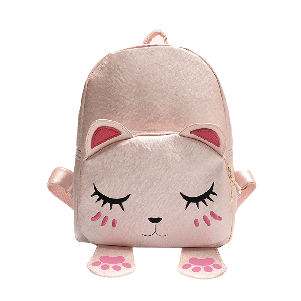 Lovely Cartoon Cat Backpack PU Leather Backpack Women Mini School Bags for Teenage Girls Mini Travel Rucksack Mochila Bolsas vintage cute owl backpack women cartoon school bags for teenage girls canvas women backpack brands design travel bag mochila sac