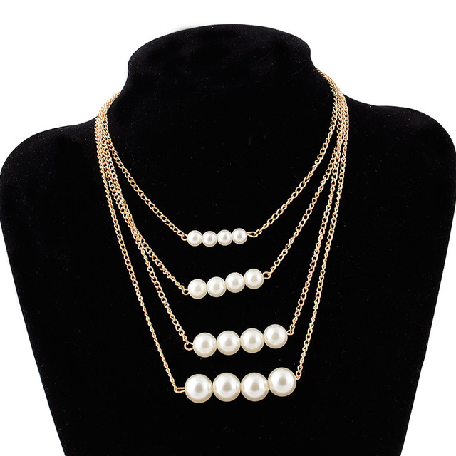 Pearl necklace collier femme collares statement Multilayer choker statement jewelry 4