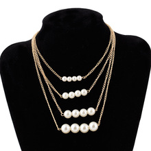 Best Collier Femme Collares statement Multilayer Pearl Necklace Cheap
