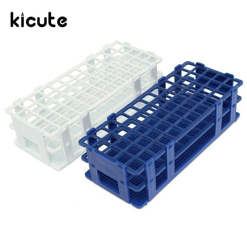 Kicute 60 Holes 16mm 3 Layers Plastic Test Tube Rack Holder Storage Stand Lab School Supplies Lab Equipment