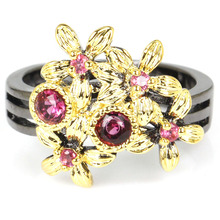 8.0# Vintage Pink Raspberry Rhodolite Garnet Womans Party Black Gold 925 Silver Ring 17x16mm