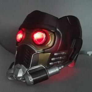 Image 2 - Cos người bảo vệ của galaxy đội mũ bảo hiểm cosplay peter quill đội mũ bảo hiểm PVC với Led Ánh Sáng Sao The Lord Of The Helmet Halloween Mặt Nạ Bên người lớn