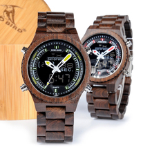 BOBO BIRD Men Watch Relogio Masculino Wood Wristwatch LED Dual Display Auto Date Luminous Hands