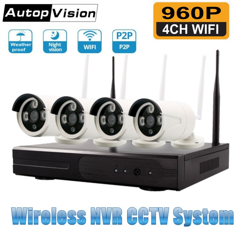 4CH WIFI NVR Kit Wireless CCTV Camera System 1.3MP 960P HD Outdoor IP Camera P2P Video Surveillance Camera System4CH WIFI NVR Kit Wireless CCTV Camera System 1.3MP 960P HD Outdoor IP Camera P2P Video Surveillance Camera System