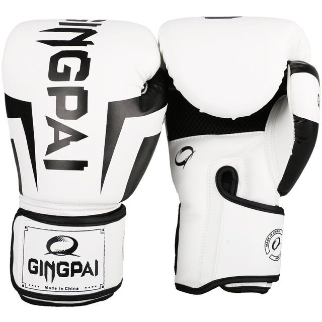 Free Shipping New Arrivals White MMA Gloves Muay Thai Gym Punching Bag Gloves Half Mitt Train Sparring Kick Boxing Gloves