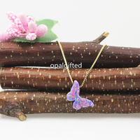 Fashion Classic Design Op38 Purple Synthetic Opal Butterfly 8 6 14mm S925 Silver Gold Box Chain
