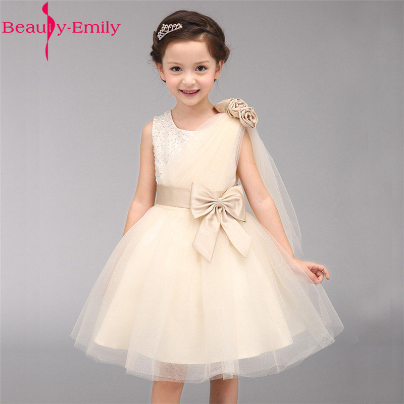 2019 High Quality Sleeveless O Neck   Flower     Girl     Dress   Elegant Sequined Bow Wedding Party   Dress   with Sashes Many Colors Available