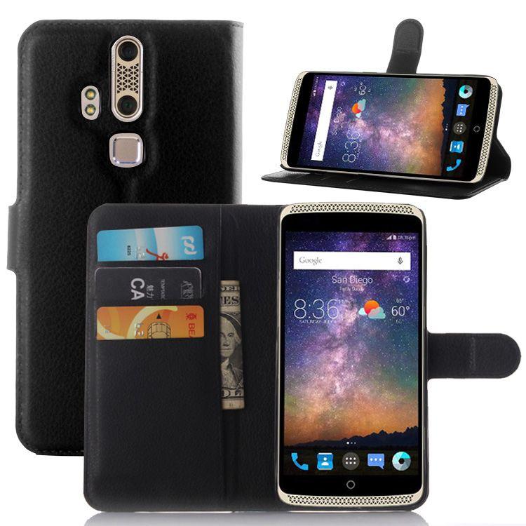 4f18ed040628 Pour ZTE Axon Lux cas couverture de mode de luxe filp Litchi en cuir  portefeuille stand cas de téléphone téléphones cellulaires de couverture  Pour ZTE Axon ...
