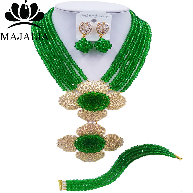 Majalia Classic Nigerian Wedding African Jewelery Set Green Crystal Necklace Bride Jewelry Set Free Shipping 6CL012