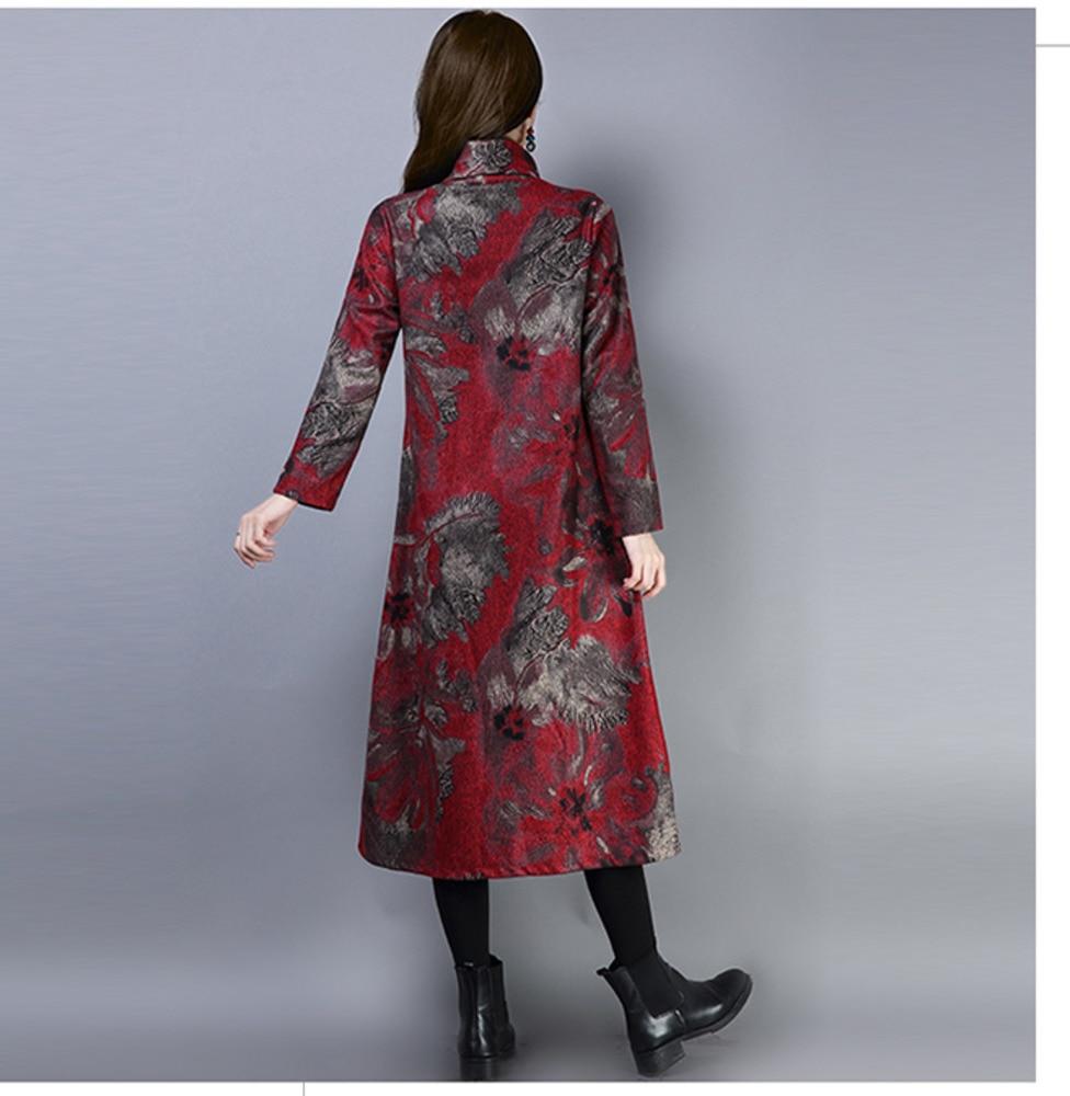 2019 New Women Spring Autumn Dresses Turtleneck Printed Female Long Sleeve Vintage Robe Dress Vestido 66