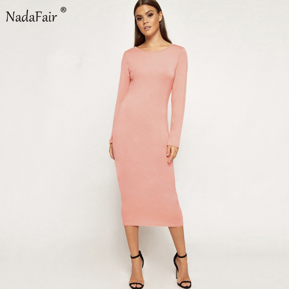 Nadafair bodycon pencil long dress 2018 autumn o neck long sleeve solid  slim sexy midi dress 6d3a25bd3