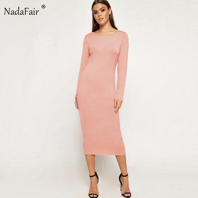 368d13de391fa Nadafair bodycon pencil long dress 2018 autumn o neck long sleeve solid  slim sexy midi dress female casual party dress elegant -in Dresses from ...
