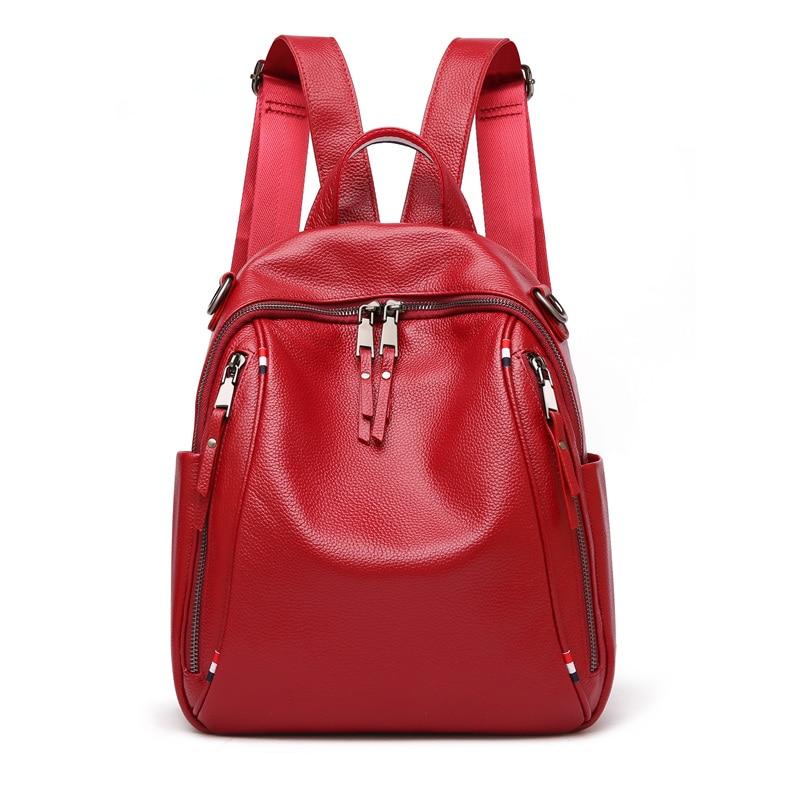 Nesitu Hohe Qualität Neue Mode Schwarz Blau Rot Echtes Leder Frauen Rucksack Für Mädchen Echte Haut Weibliche Schulter Taschen M0977-in Rucksäcke aus Gepäck & Taschen bei  Gruppe 1