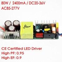 CE Certified Isolated 2400mA 80W DC 20V 38V Led Driver 10 series 8 parallel led lamp Power Supply AC 110V 277V for LED lights