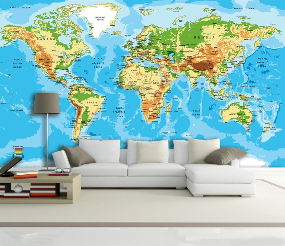 [Self-Adhesive] 3D World Map Wave 067 Wall Paper Mural Wall Print Decal Wall Murals