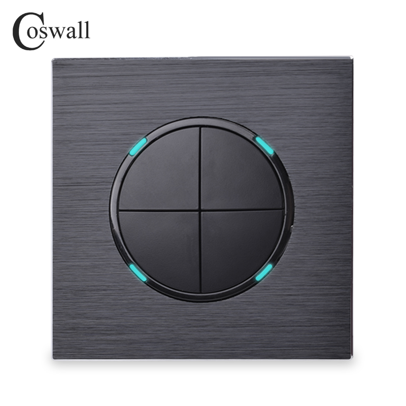 ᗕCoswall lujo 4 Gang 1 manera clic al azar pared interruptor con ...