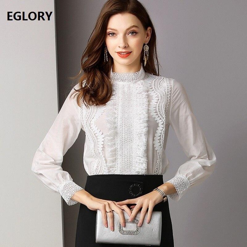 Chemisier de marque de haute qualité pour femmes col à volants évider dentelle broderie à manches longues blanc noir chemise en soie coton Blouse