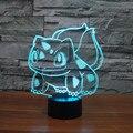 Nueva Bulbasaur Pokemon Dibujos Animados 3D LED Noche Luces de Colores de Acrílico lámparas Dormitorio de la Lámpara de Mesa Para La Fiesta Del Bebé de Juguete de Regalo de Navidad