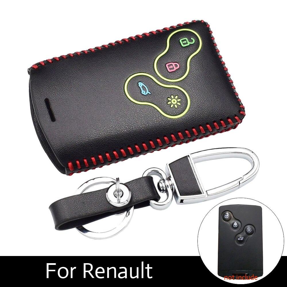 ATOBABI Véritable En Cuir Lumineux Key Case Cover pour Renault Koleos Laguna Megane 1 2 3 Sandero Pittoresque Captur Clio Chiffon fluence