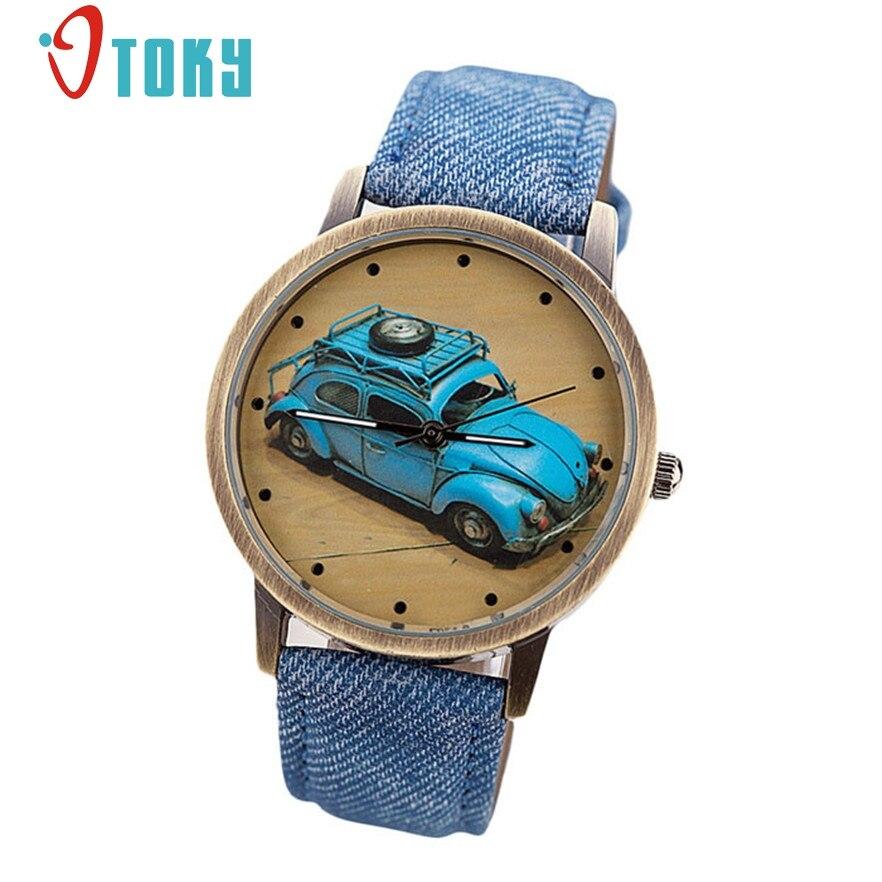 OTOKY quartz watch Fashion Men Retro Car Pattern Denim Twill Strap Watch for men Casual Clock relogio masculino #40 Gift 1pc