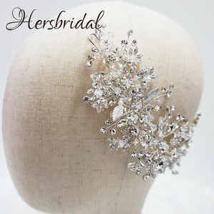 Image 3 - High Quality Crystal Bridal Hair Comb Handmade Rhinestone Wedding Headpiece Hair Jewelry Brides 2019