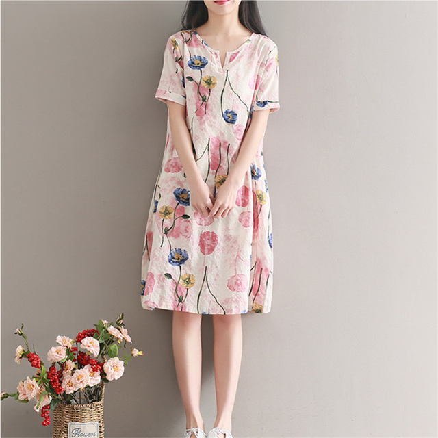 New Women Printed Flower Dress Short Sleeve Knee Length One Piece Casual Cotton Linen Summer