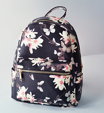 new summer butterfly print leather women backpacks white and black ...
