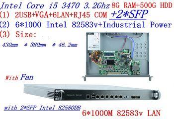 8G RAM 500G HDD Broadband VPN Router 1U Firewall Server 6*1000M Gigabit 2*SFP Intel I5 3470 3.2G Support ROS/RouterOS