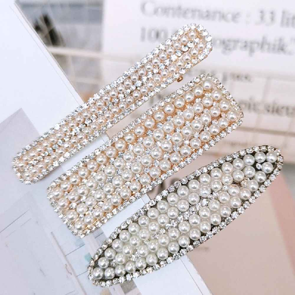 1PC Korea Fashion Imitiation Pearl Crystal Hairpins Geometric Oval Rectangle Shape Hair Clips Women Hair Accessories