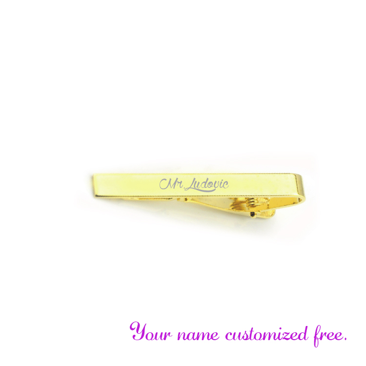Fashion Silver gold tie clip Tie Pin customized free with your wedding date and names 30pcs wedding favors wedding decoration in Party DIY Decorations from Home Garden