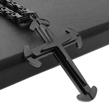 Punk Black 316L Stainless Steel Jesus Christ Cross Pendant Necklace 6mm Byzantine Link Chain Men Boys Gift 18-36