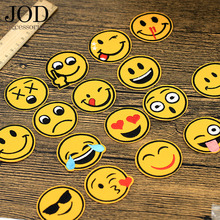 цена на JOD patch Emoji Patches Clothes Circle Cartoon Stickers Jacket Children Decoration Applications Iron on Applique Smile Badge