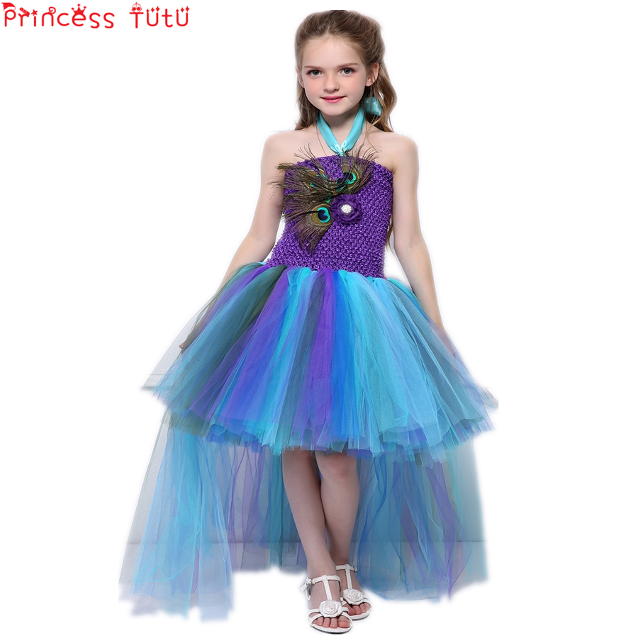 13af82f3cf3 US $19.52 20% OFF|Thanks Giving Girl Tutu Dress Parrot Peacock Costume  Halloween Birthday Party Dress Up Kids Clothes Girls Dresses 2 10  YearsW115-in ...