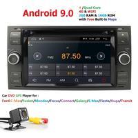 Ossuret Car Multimedia Player GPS Android 9 2 Din For Ford/Mondeo/Focus/Transit/C MAX Car Radio Bluetooth DVR Autoradio SWC Cam