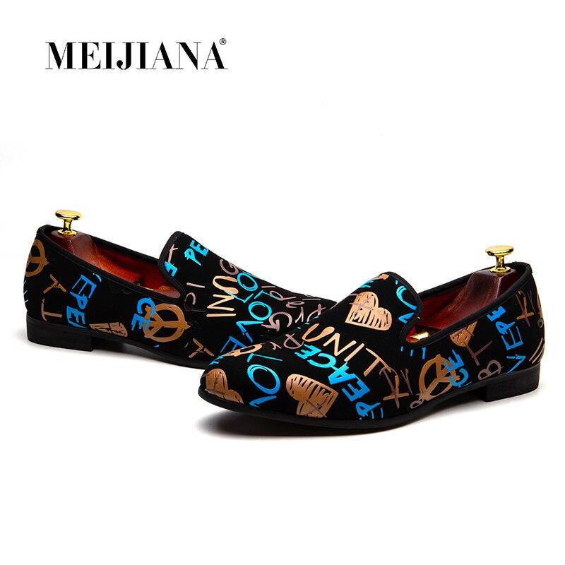 MEIJIANA/модная повседневная обувь, мужские лоферы, брендовая мужская обувь, новинка 2018, разноцветная обувь для вечеринок с граффити