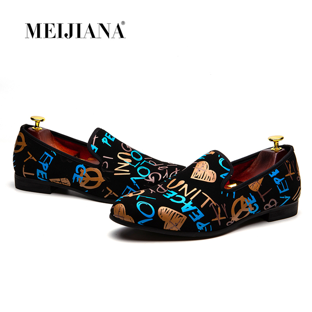 MEIJIANA אופנה נעליים יומיומיות גברים לופרס מותג גברים נעלי 2018 חדש צבעוני גרפיטי נעלי מפלגה