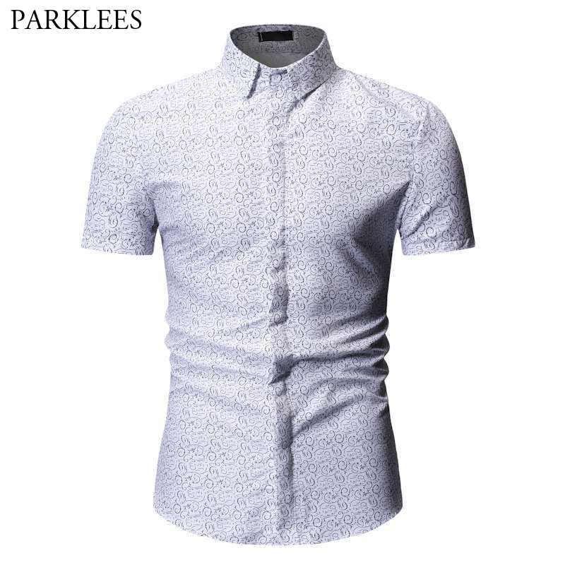 Camisa blanca con estampado Floral para hombre 2019 nuevo ajustado de manga corta Camisa hawaiana de verano camisas casuales para hombre Camisa Masculina XXXL