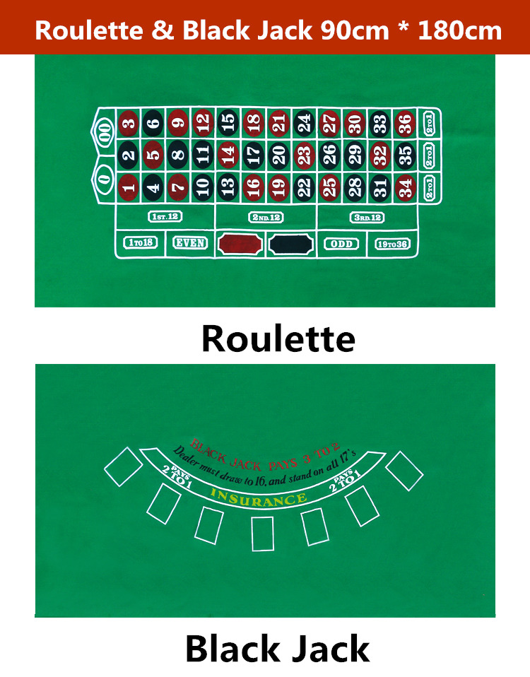Two Zero Double Side Green color Roulette and Black Jack gaming tablecloth 90cm*180cm black causal two side pockets hoodie
