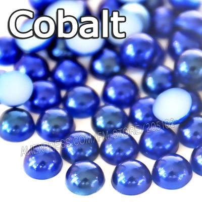 Cobalto azul oscuro medio grano redondo 2 mm 3 mm 4 mm 5 mm 6 mm 8 mm imitación ABS posterior plana perlas para DIY joyería del arte del clavo accesorio