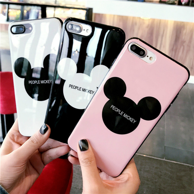 100% authentic 0ef7e 9c8f9 US $2.08 9% OFF|Glossy Mickey Mouse Phone Case For iPhone 6 6s Plus Letter  PEOPLE MOUSE Back Cover Abstract TPU&PC Cases For iPhone X 8 7 Plus-in ...