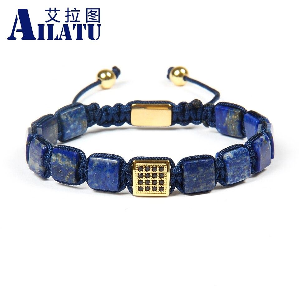Ailatu 멋진 남성을위한 블랙 cz 광장 macrame 팔찌 팔찌와 도매 10 개/몫 8x8mm 자연 lapis lazuli 스톤 비즈-에서끈 팔찌부터 쥬얼리 및 액세서리 의  그룹 1
