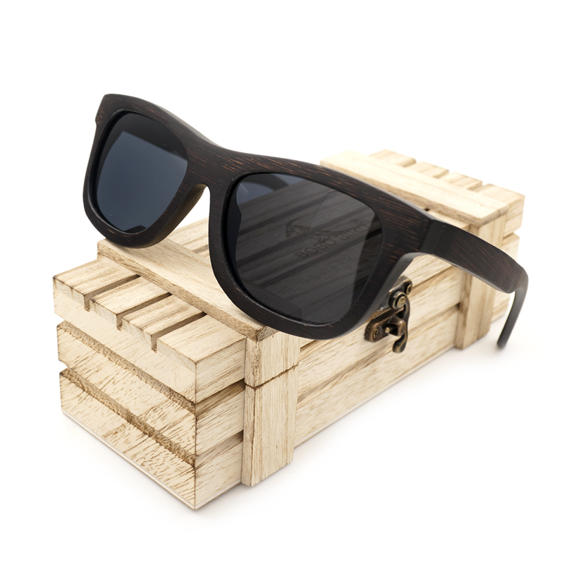 BOBO BIRD AG006a Brand Designer Nature Ebony Wooden Glasses Gray Polarized Lens Unisex Sunglasses Male With